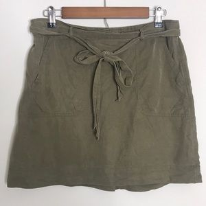 LOFT Stretchy Olive Green Belted Mini Shirt M